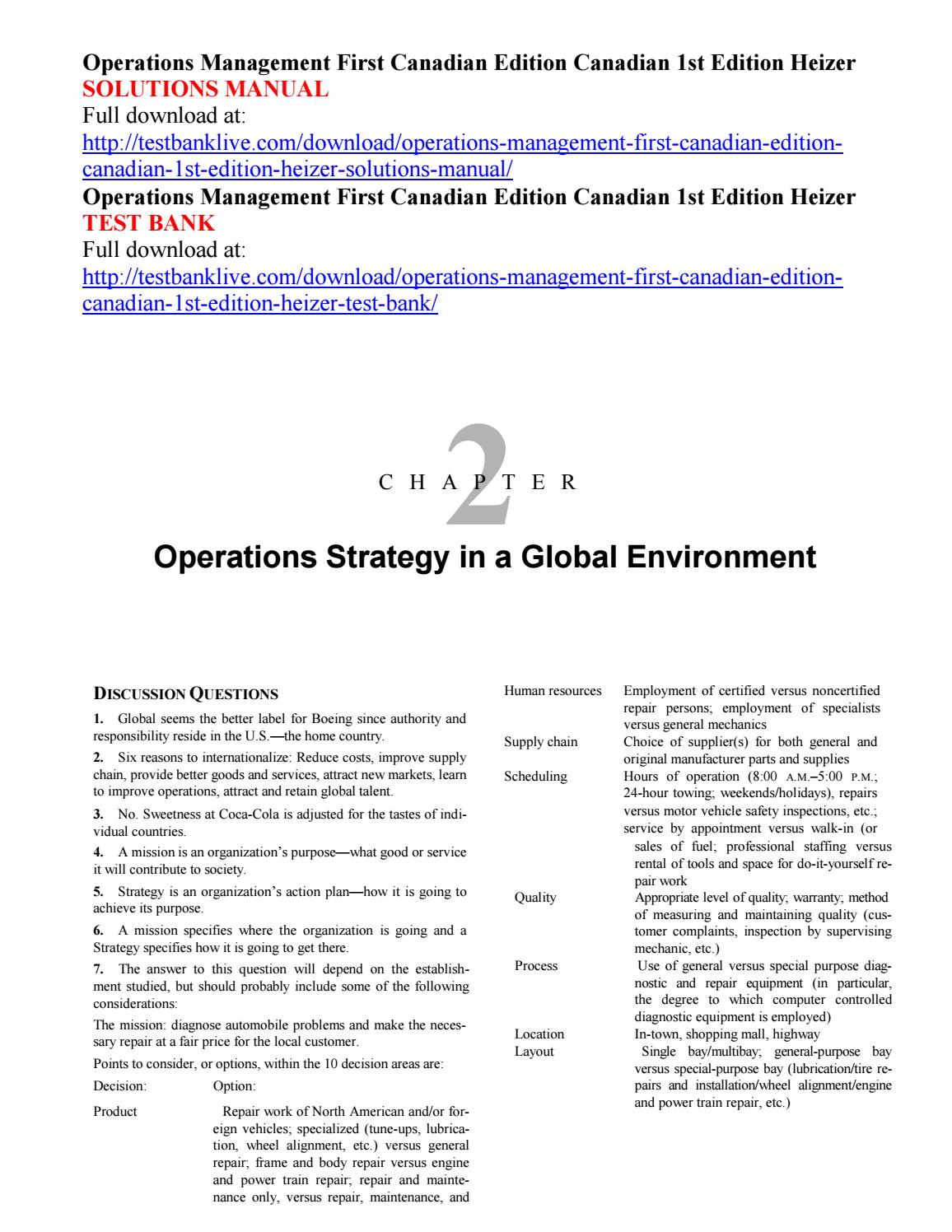 Operations management first canadian edition canadian 1st edition heizer  solutions manual by Krajewski000 - issuu