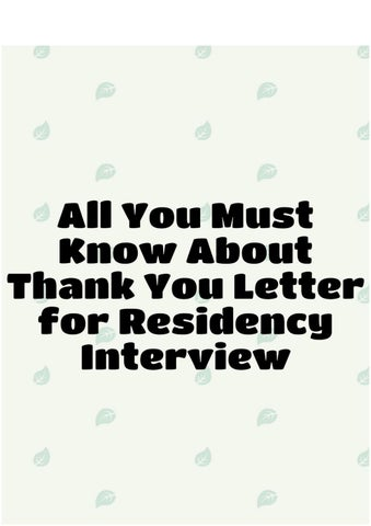 All you must know about thank you letter for residency interview by all you must know about thank you letter for residency interview you will need to write a residency interview thank you letter if you will be interviewed expocarfo Images