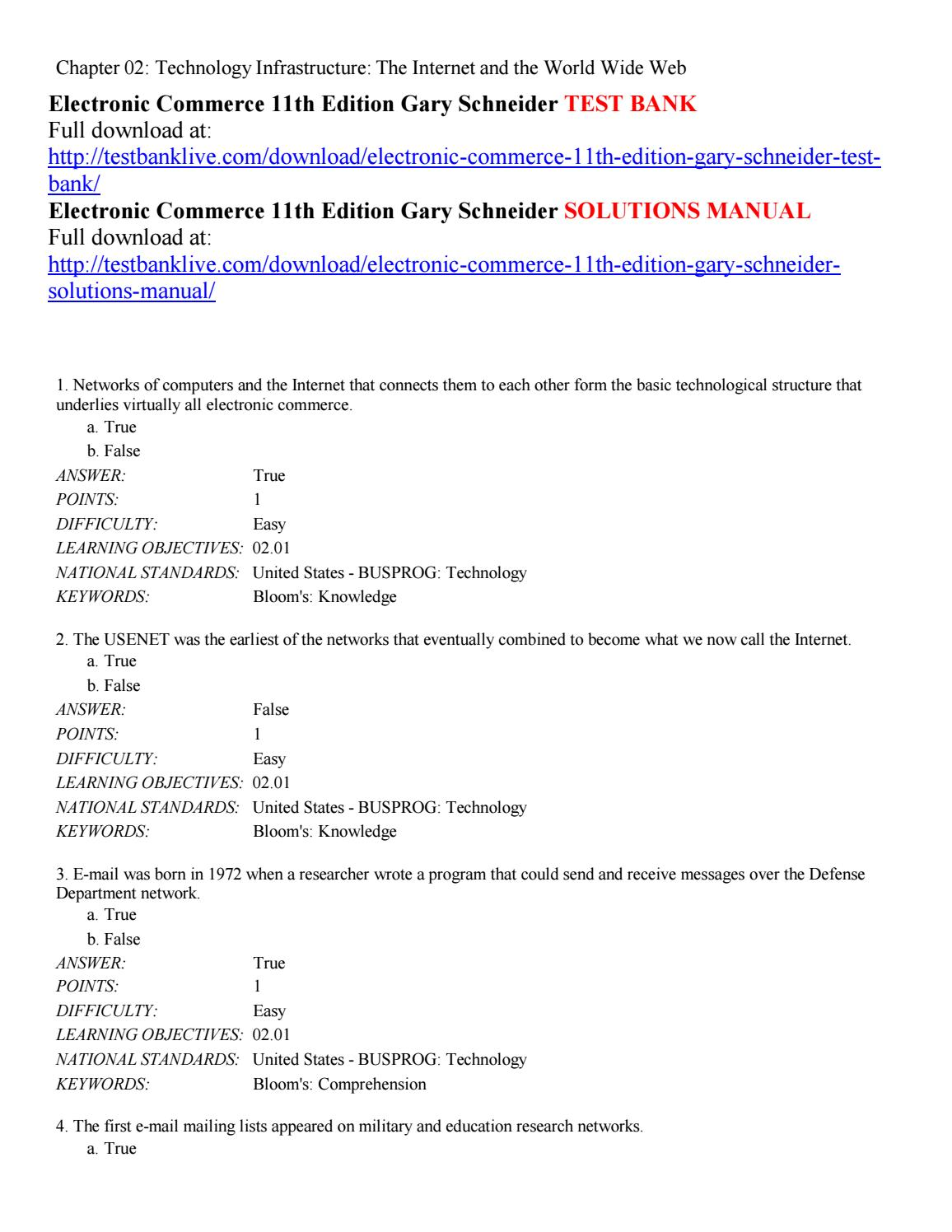 Electronic commerce 11th edition gary schneider test bank by ZWzz - issuu