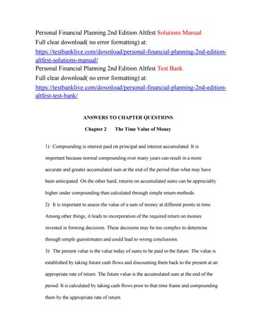 Personal Financial Planning 2nd Edition Altfest Solutions
