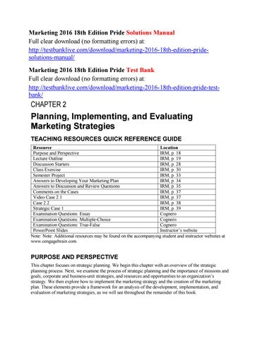 Marketing 2016 18th edition pride solutions manual by pride146 issuu marketing 2016 18th edition pride solutions manual full clear download no formatting errors at fandeluxe Choice Image