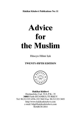 Advice for the Muslim by bookdistributor55 - issuu