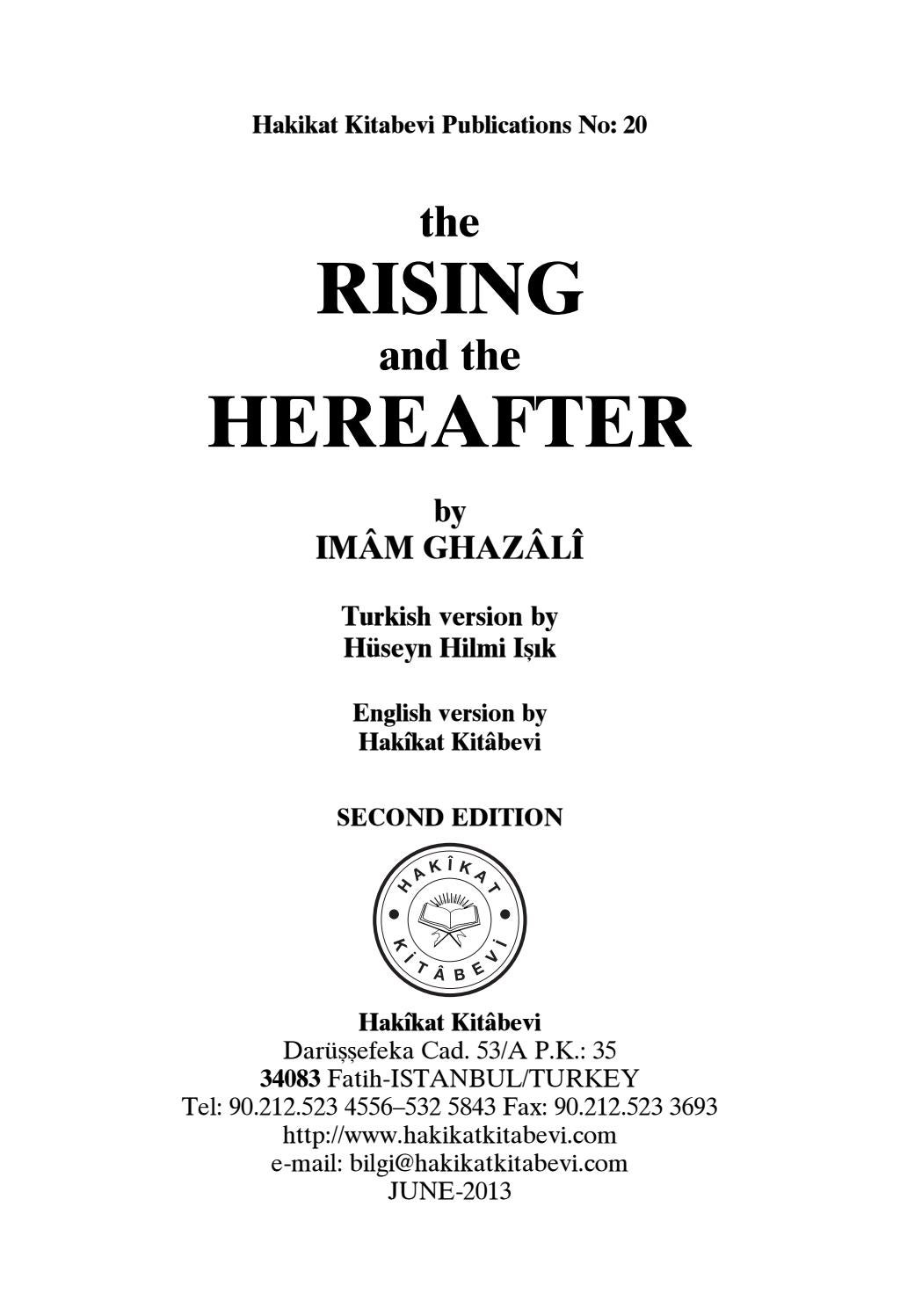 The Rising and The Hereafter - IMAM GHAZALI by bookdistributor55 - issuu