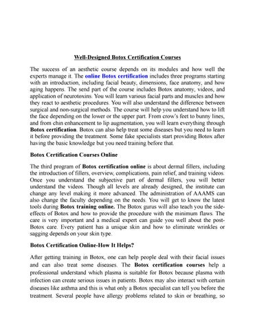 Online Botox Training Certification Courses - AAAMS.net by Gigapros ...