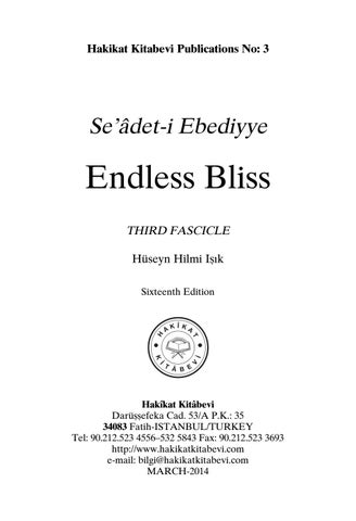 Seadet-i Ebediyye - Endless Bliss - Third Fascicle by