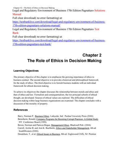 Legal and regulatory environment of business 17th edition pagnattaro chapter 02 the role of ethics in decision making fandeluxe Gallery