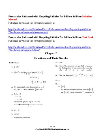 Precalculus enhanced with graphing utilities 7th edition sullivan