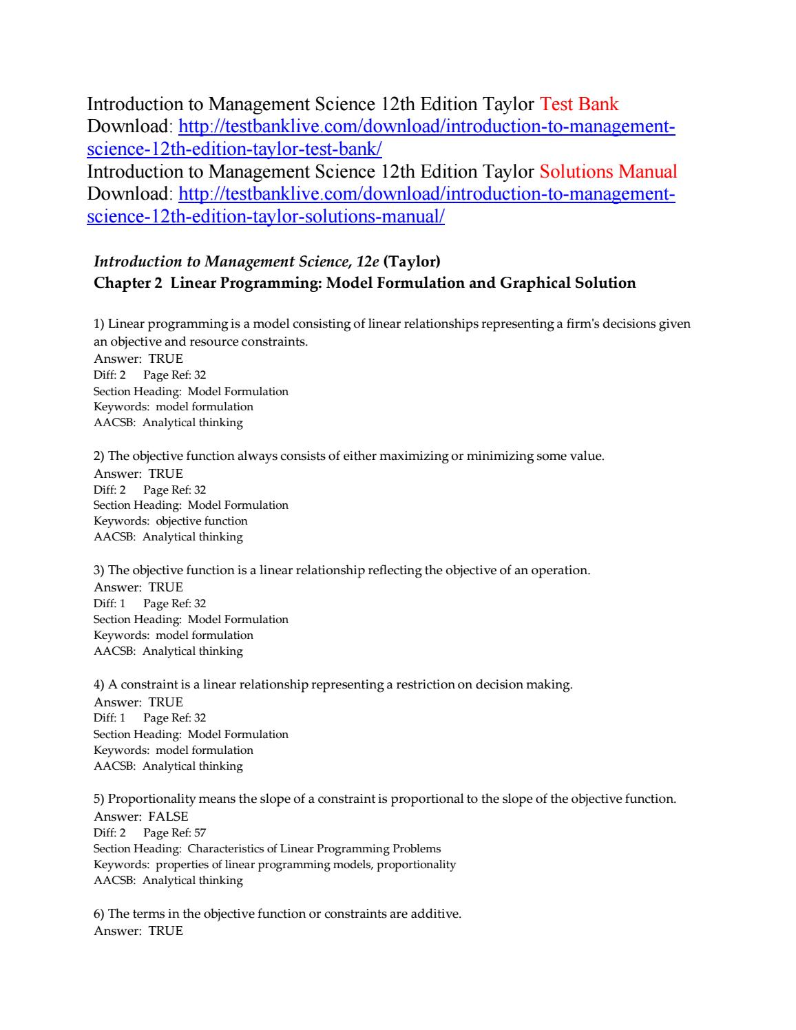 Solution Manual Taylor 11th Management Science Ebook John Deere X110 Belt Drive And Ilders Exploded Parts Diagram Array Introduction To 12th Edition Test Bank By Rh Issuu Com