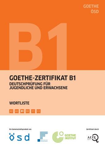 Goethe Zertifikat B1 Wortliste By Jiří Hrdý Issuu