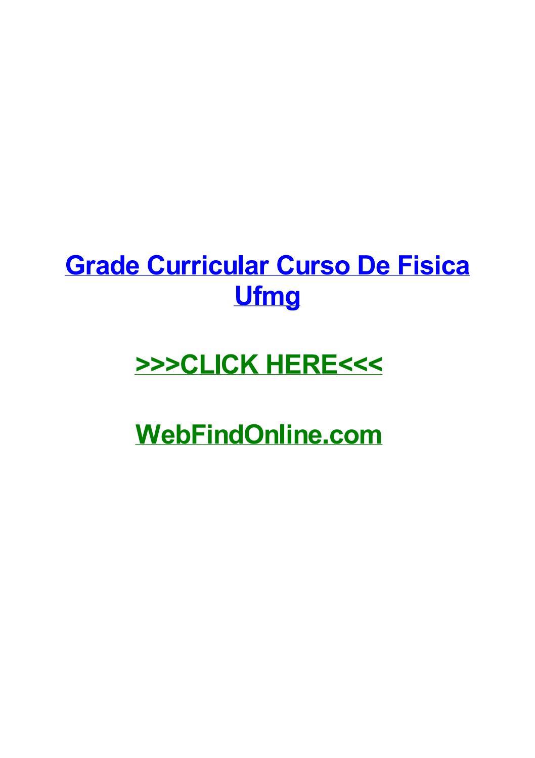 Grade Curricular Curso De Fisica Ufmg By Jeremyawtn Issuu