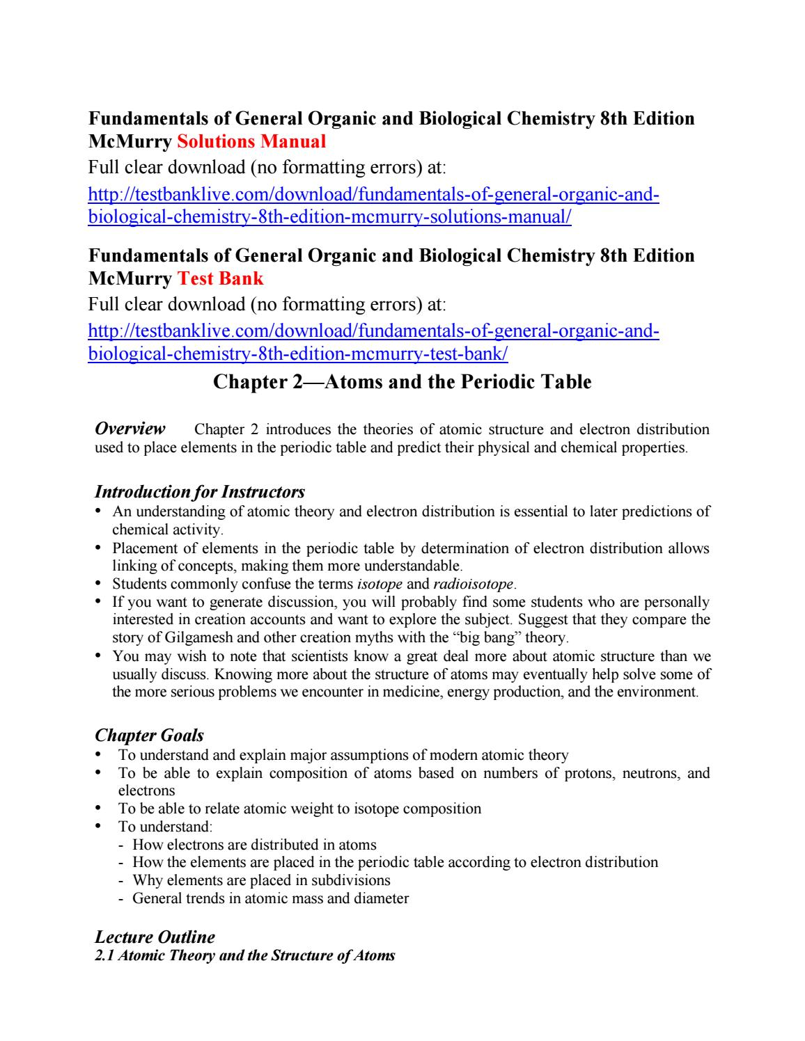 Fundamentals of general organic and biological chemistry 8th edition  mcmurry solutions manual by Adamsoo00 - issuu