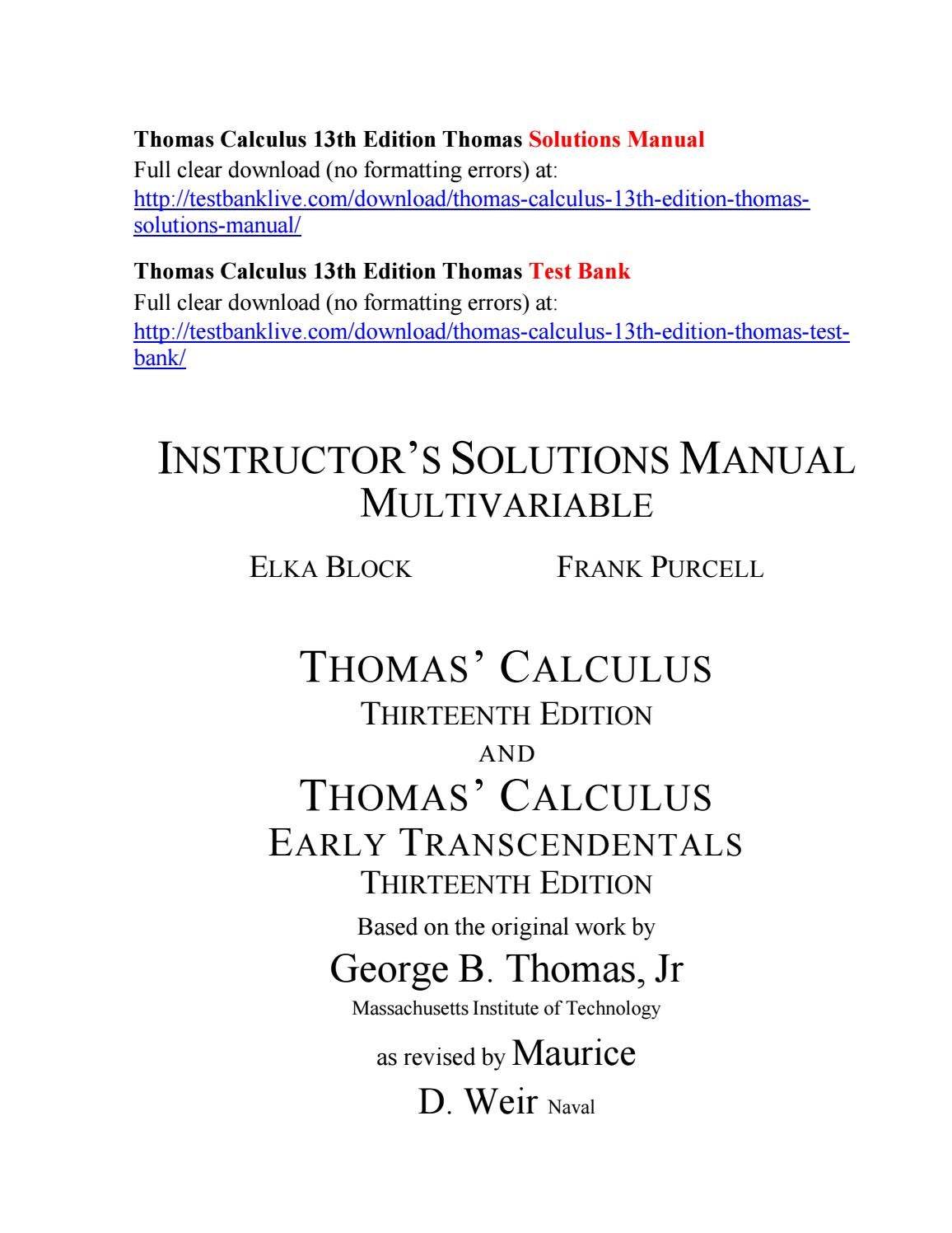 Thomas calculus 13th edition thomas solutions manual by Harvey11ss - issuu