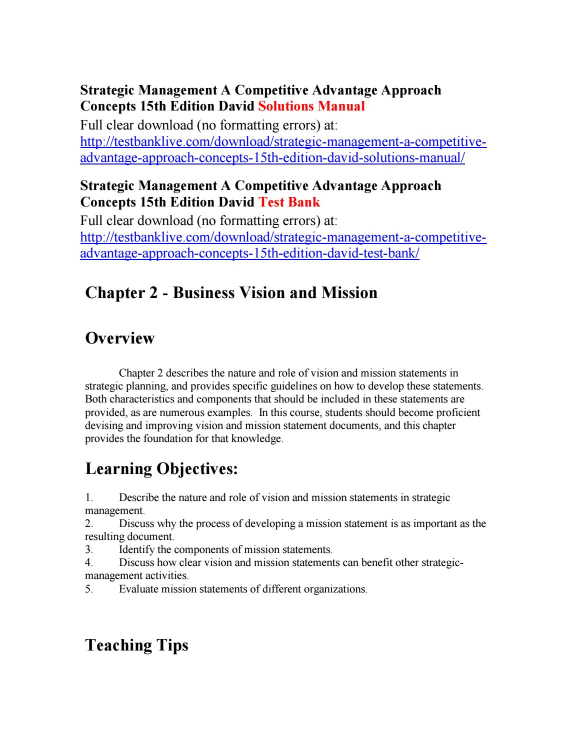 Strategic Management A Competitive Advantage Approach Concepts 15th