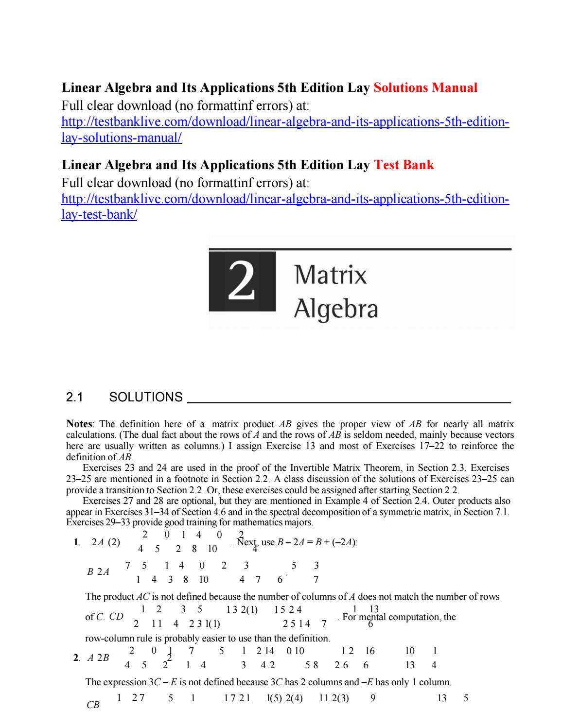 Linear algebra and its applications 5th edition lay solutions manual by  Wilson9833 - issuu