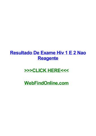 resultado de exame hiv 1 e 2 nao reagente by jaytcqoi issuu