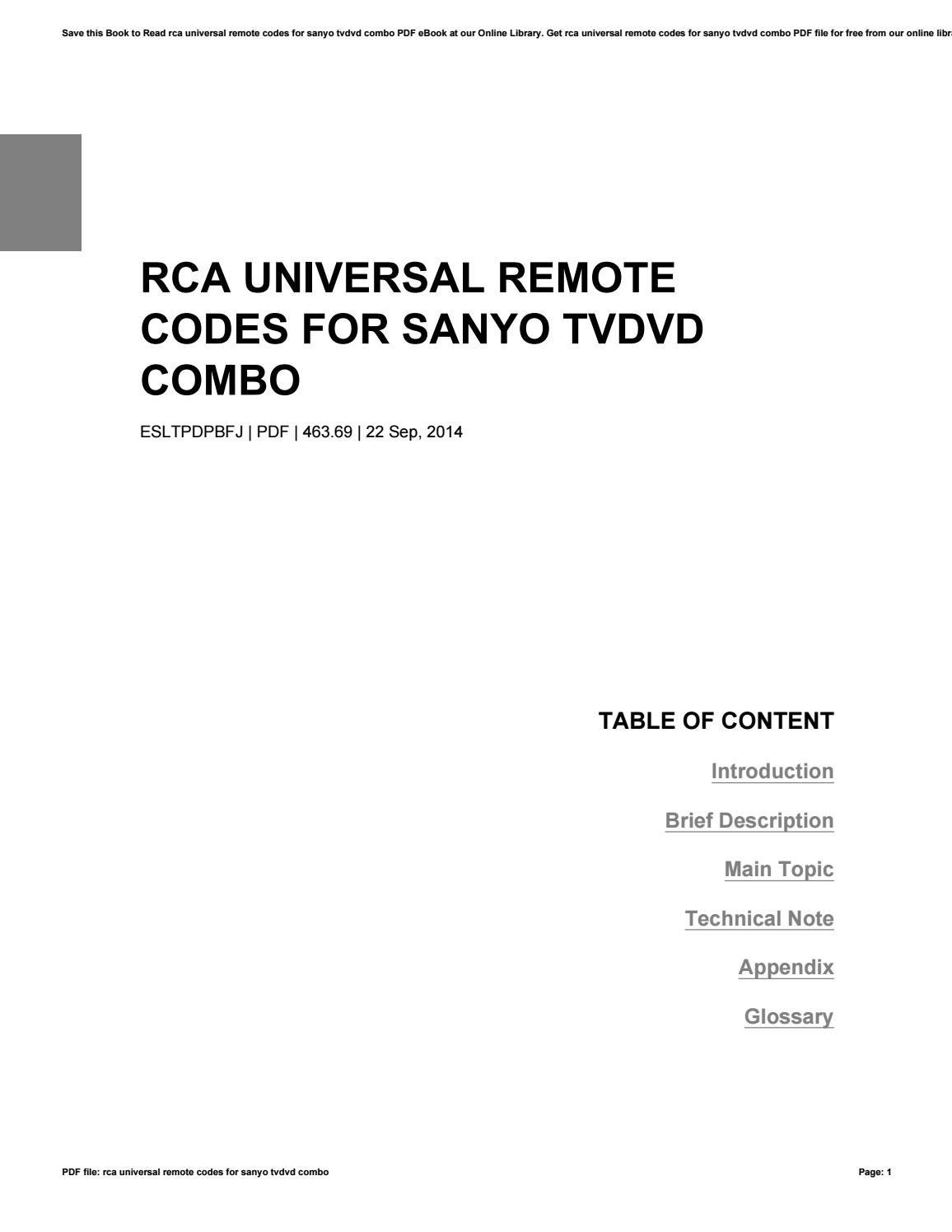 Rca universal remote codes for sanyo tvdvd combo by