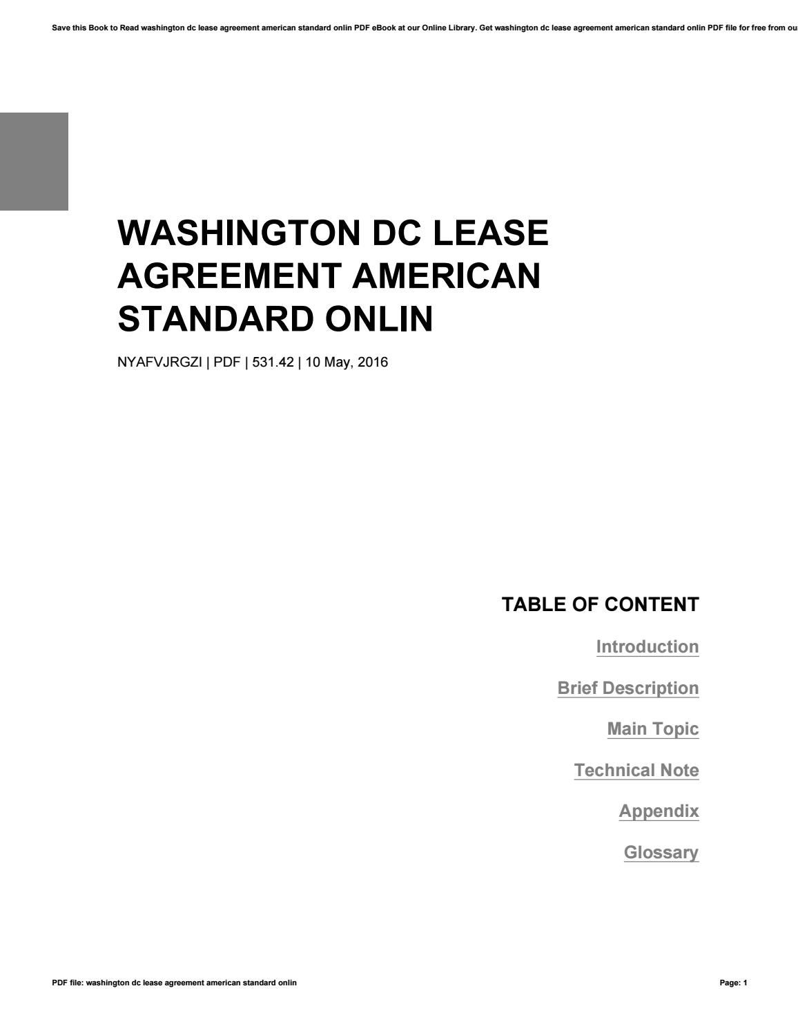 Washington Dc Lease Agreement American Standard Onlin By 0mixmail41