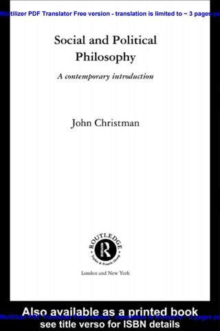 Christman John Social And Political Philosophy A Contemporary