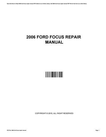 2006 ford focus workshop manual pdf