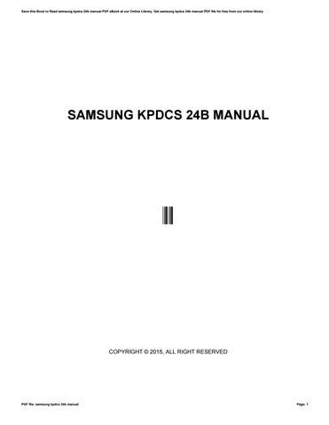 samsung kpdcs manual