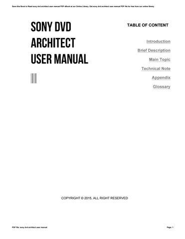 sony dvd architect user manual by reddit478 issuu rh issuu com sony dvd architect studio manual Sony DVD Architect Pro 6.0