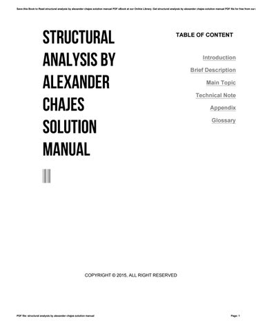 structural analysis by alexander chajes solution manual by rh issuu com solution manual of functional analysis solution manual of investment analysis and portfolio management