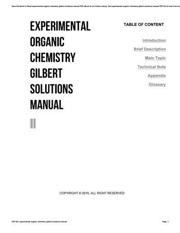 experimental organic chemistry gilbert solutions manual by rh issuu com Organic Chemistry Essays Organic Chemistry Essays