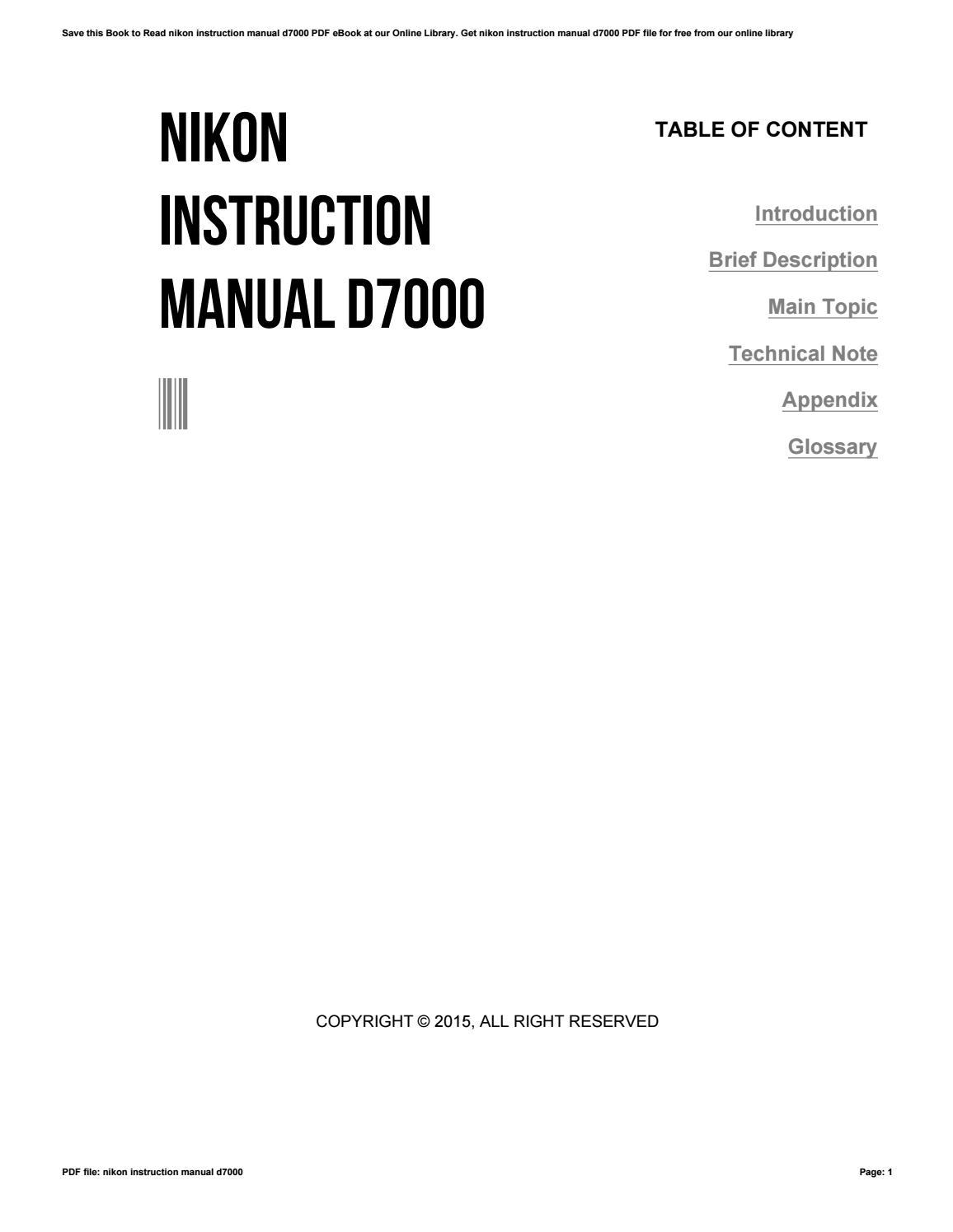 nikon instruction manual d7000 by aju024 issuu rh issuu com user manual d7000 pdf Nikon D7000 Accessories