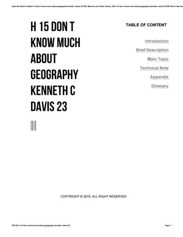 He Dont Know Much About Geography Or >> H 15 Don T Know Much About Geography Kenneth C Davis 23 By I858 Issuu