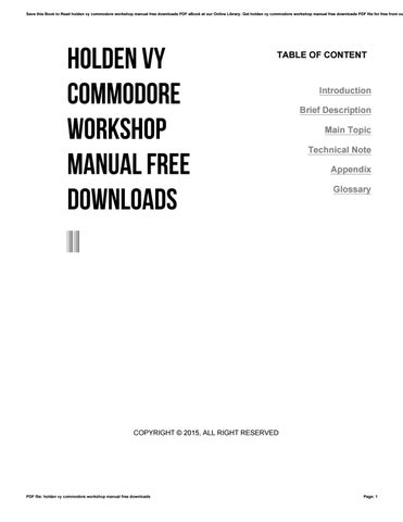 holden vy commodore workshop manual free downloads by harvard ac rh issuu com ve commodore service manual free download ve ss workshop manual pdf