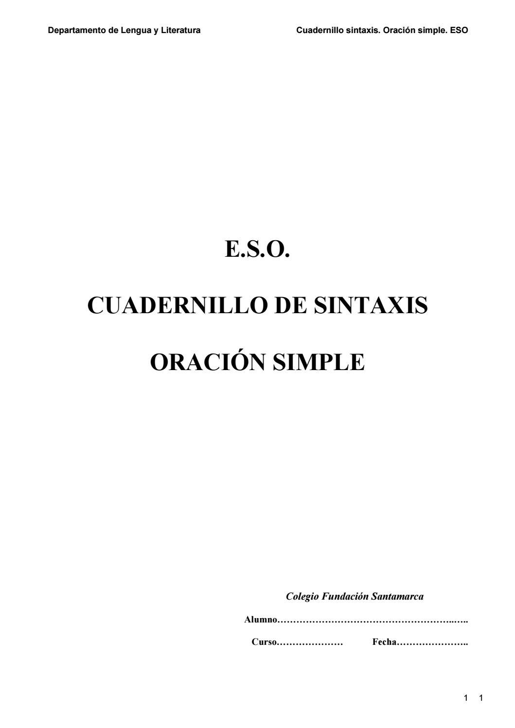 Cuadernillo De Sintaxis Con Actividades By Celia Barrio Issuu