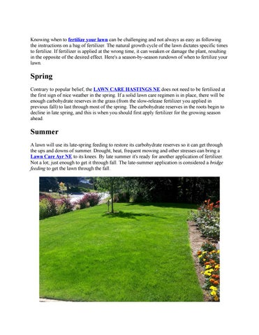 When To Fertilize A Lawn By Yardworx And Landscape Issuu