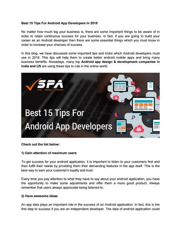 Top 15 tips for android app developers in 2018 spa by