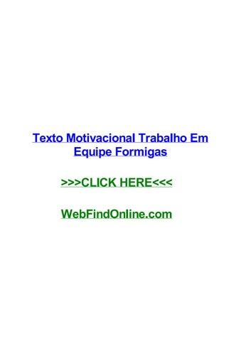 Texto Motivacional Trabalho Em Equipe Formigas By Elisayduvh