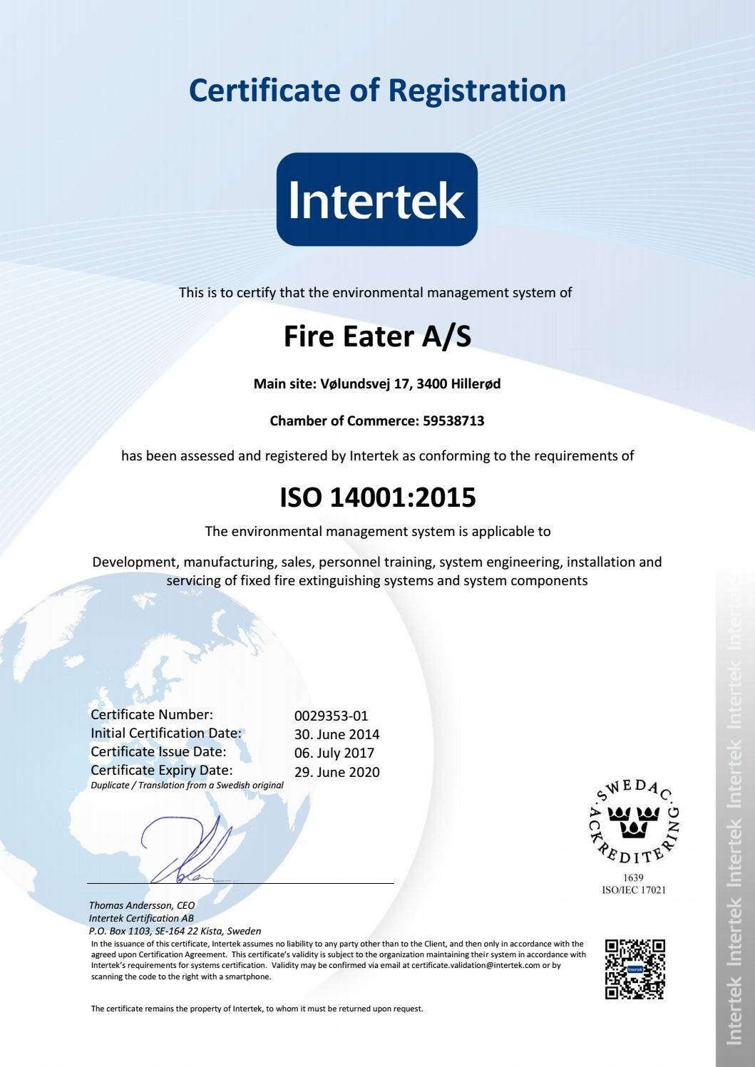 Intertek Certifikat Iso 140012015 By Fire Eater Issuu