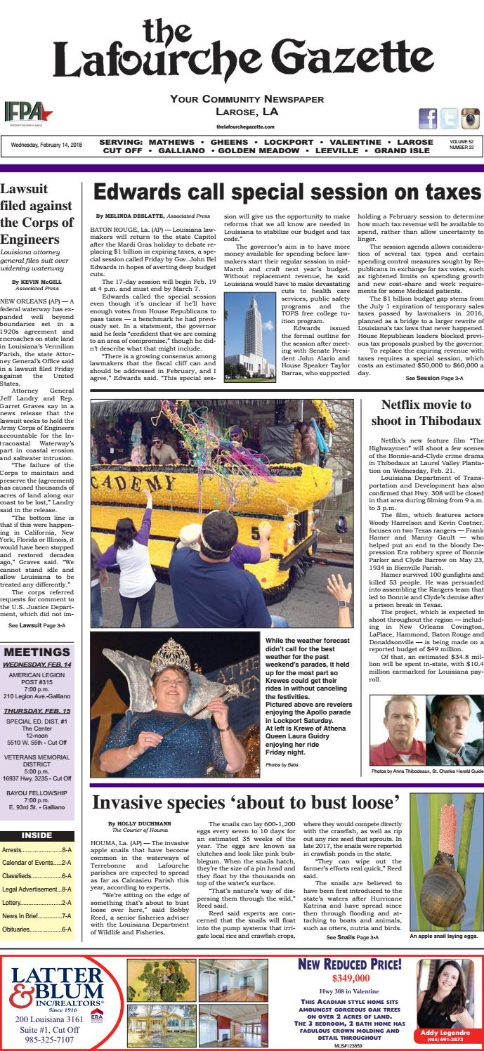 Wednesday, February 14, 2018 THE LAFOURCHE GAZETTE by The