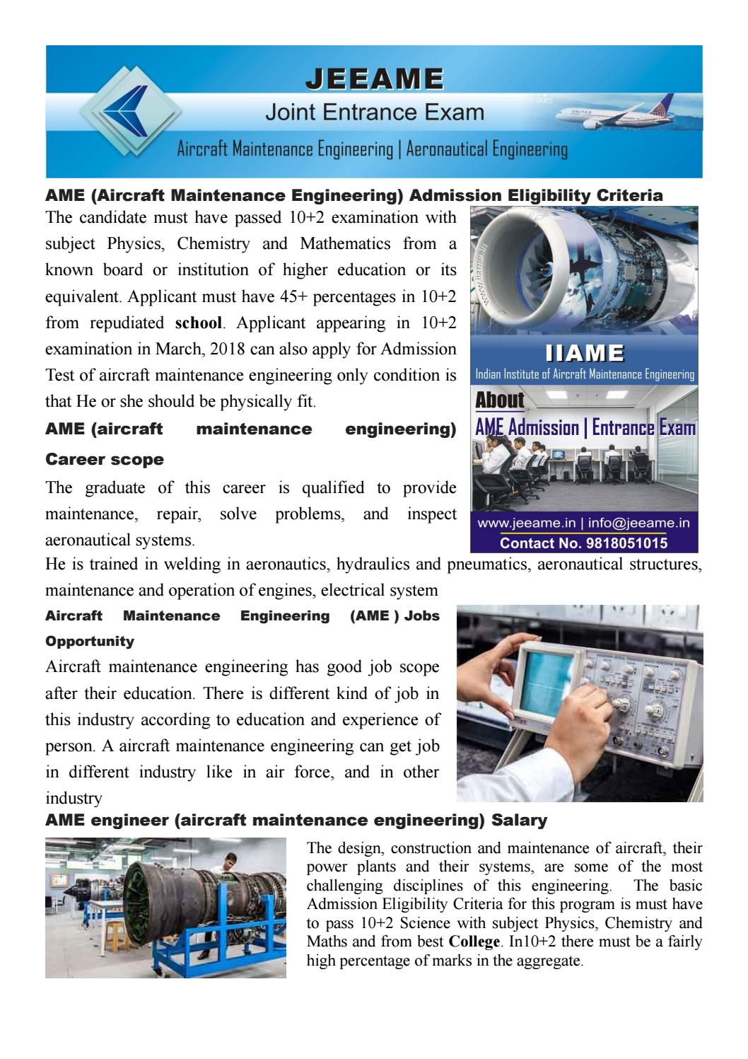 Ame Aircraft Maintenance Engineering Career Scope Jobs Salary Jeeame By Joint Entrance Examination Ame 2018 19 Issuu