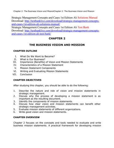 Chapter 2: The Business Vision And MissionChapter 2: The Business Vision  And Mission