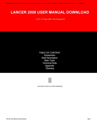 Peugeot expert service manual download by hitbts29 issuu cover of lancer 2008 user manual download fandeluxe Gallery