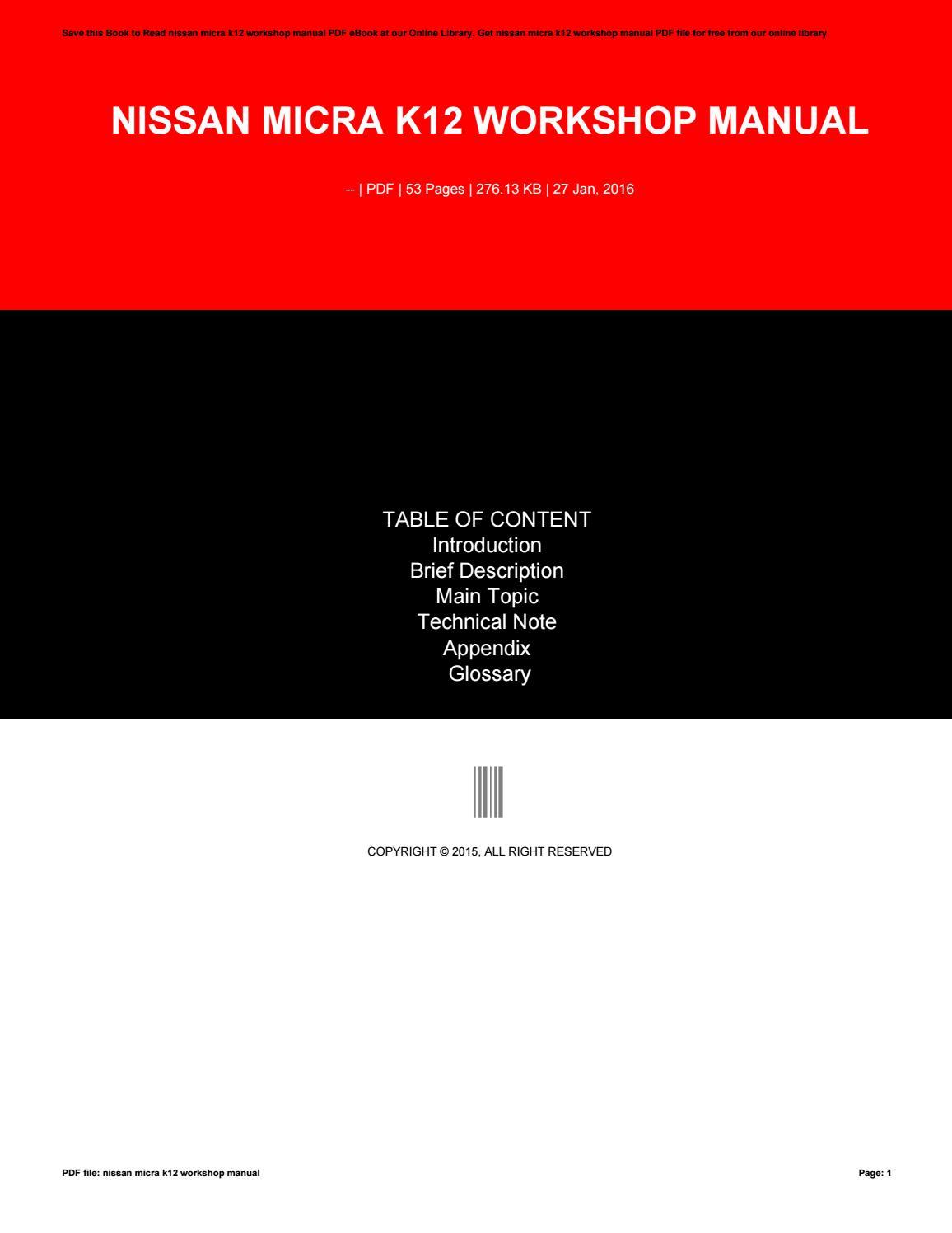 nissan micra manual pdf free