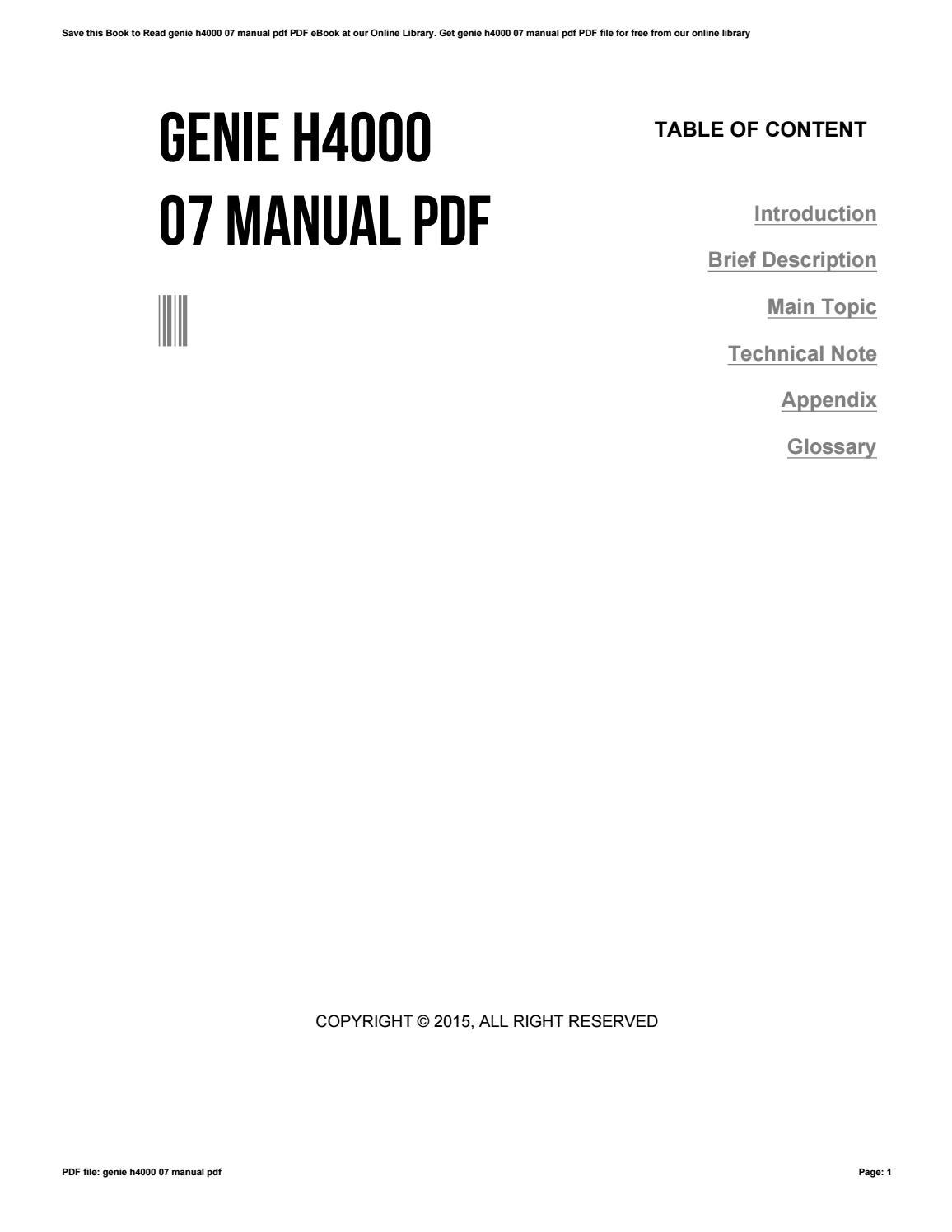 genie h4000 07 user guide online user manual u2022 rh pandadigital co genie 1/2 hp model h4000-07 manual Genie H4000-07 Wiring-Diagram