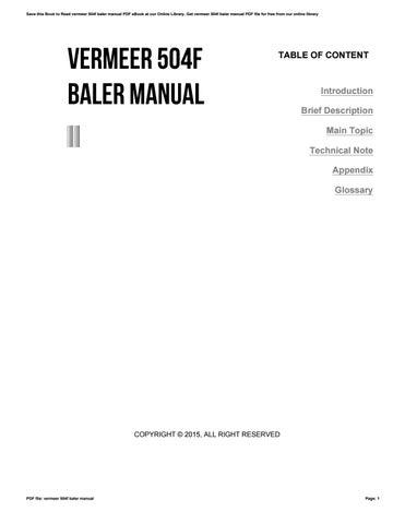 Vermeer 504f Baler Manual By E306 Issuu