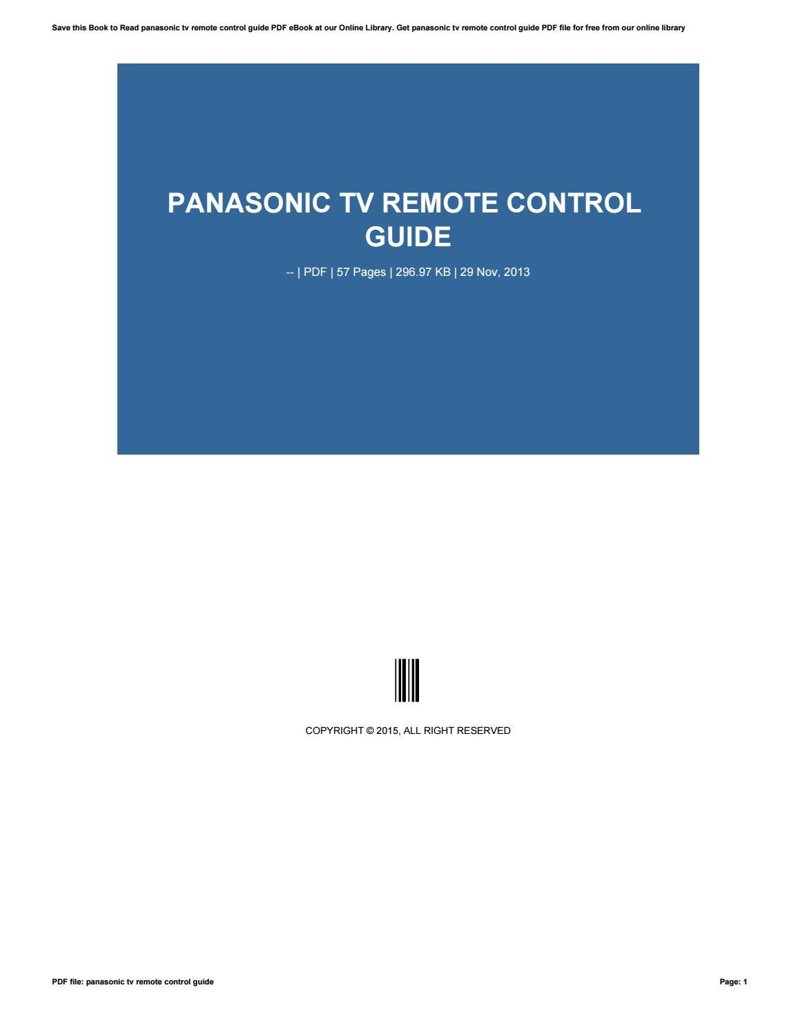 Panasonic tv remote control guide by i329 - issuu