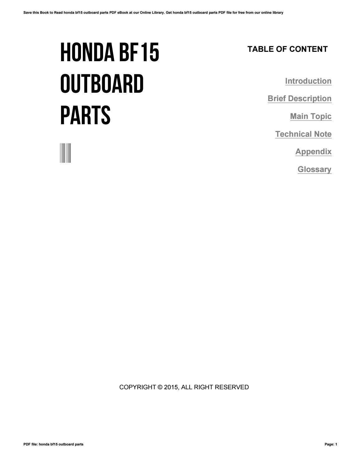 Honda Bf15 Outboard Parts By Caseedu234 Issuu Wiring Diagram