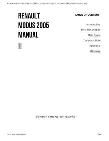 renault modus 2005 manual by w960 issuu rh issuu com renault modus manual 2005 renault modus manual 2005