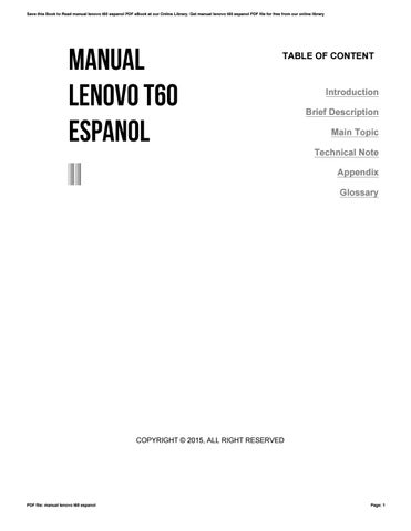 manual lenovo t60 espanol by furusato45 issuu rh issuu com Lenovo T60 Windows 7 Lenovo T60 Dock