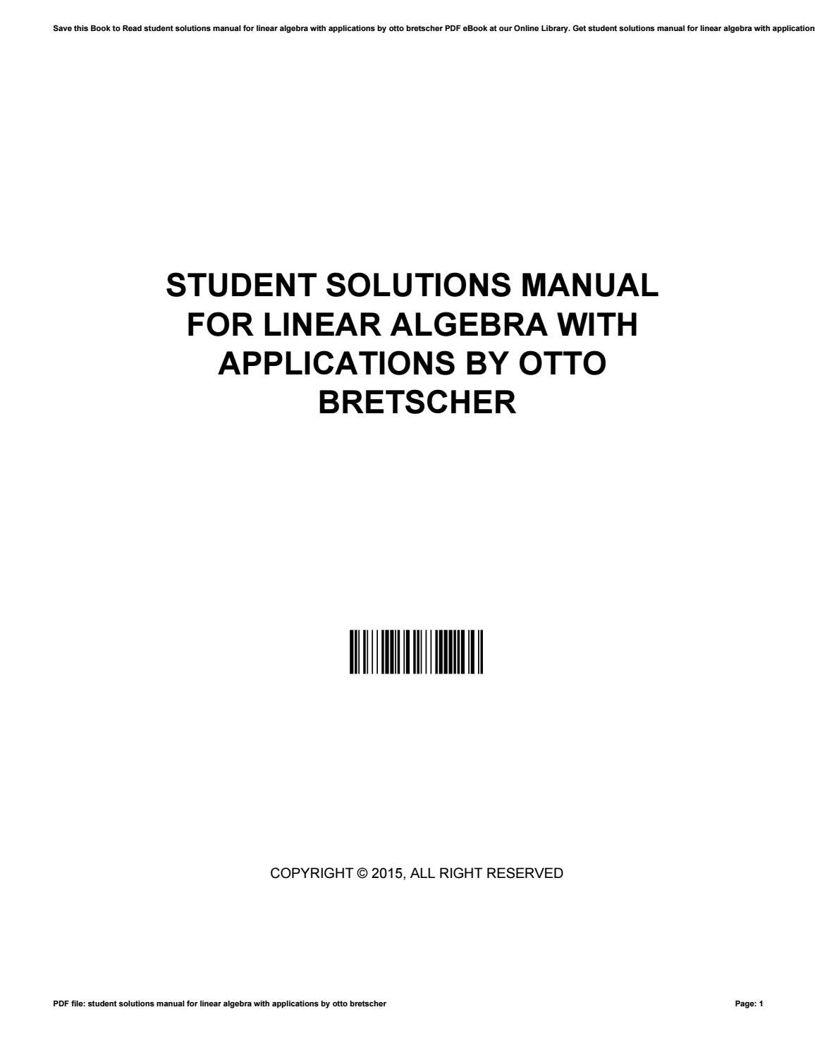 Student solutions manual for linear algebra with applications by otto  bretscher by rblx608 - issuu
