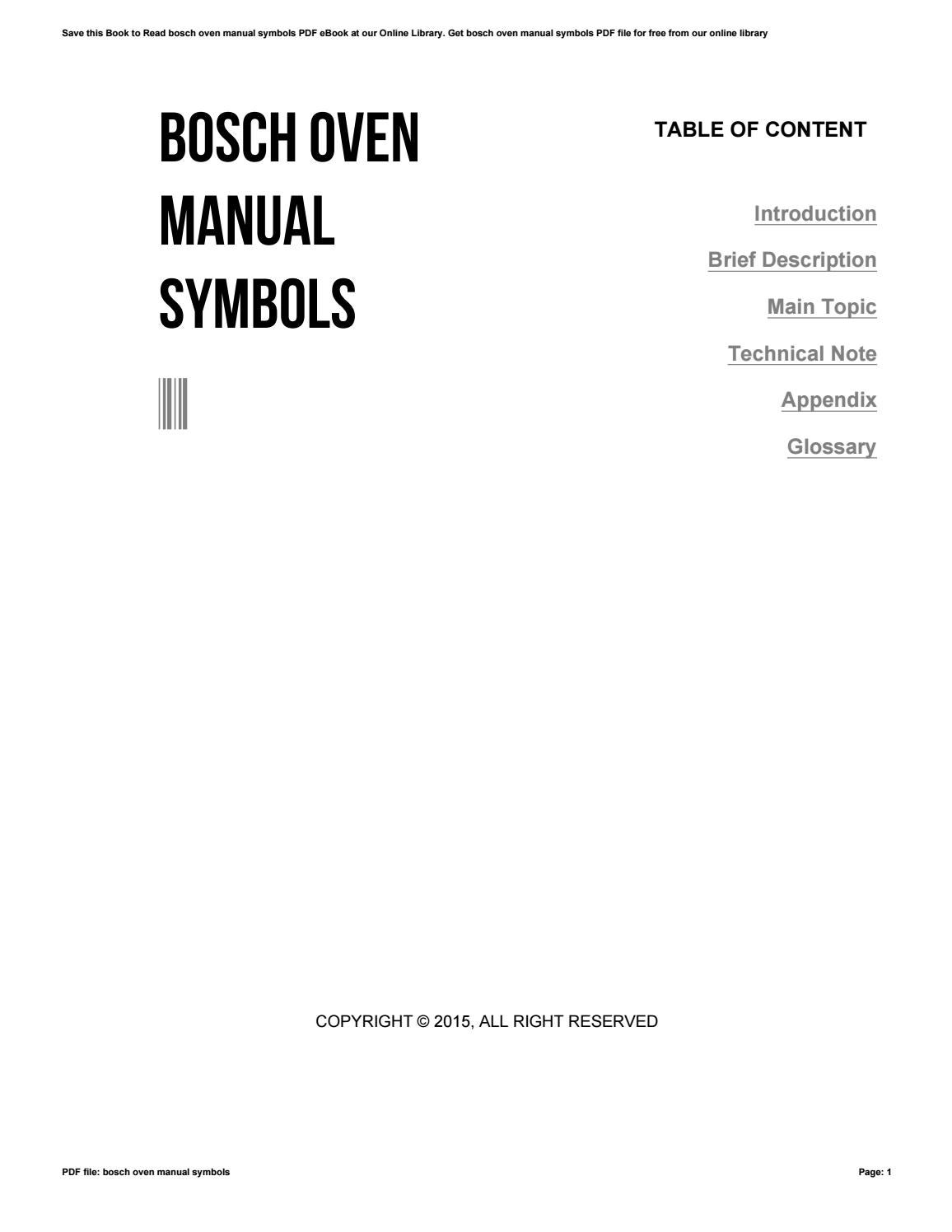Bosch Oven Manual Symbols By P848 Issuu