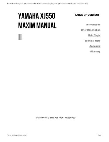 yamaha xj550 maxim manual by ppetw289 issuu rh issuu com yamaha xj 550 owners manual yamaha xj 550 repair manual