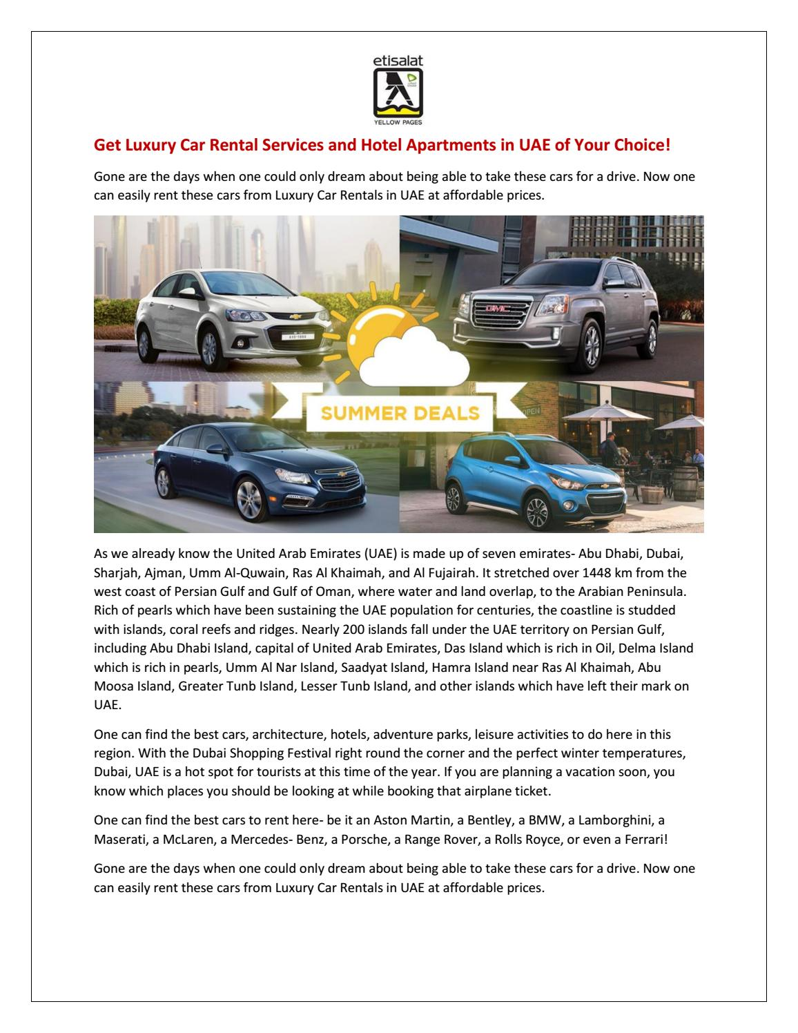 Luxury Car Rentals in UAE at Affordable Prices - Etisalat